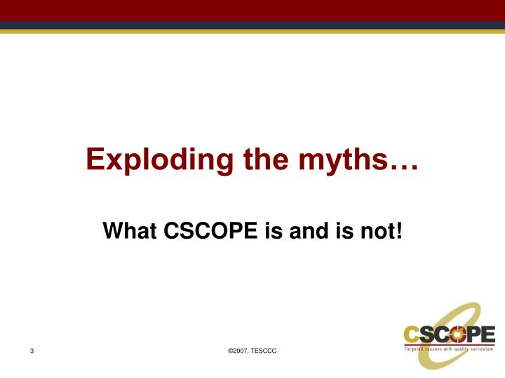 Exploding the myths…