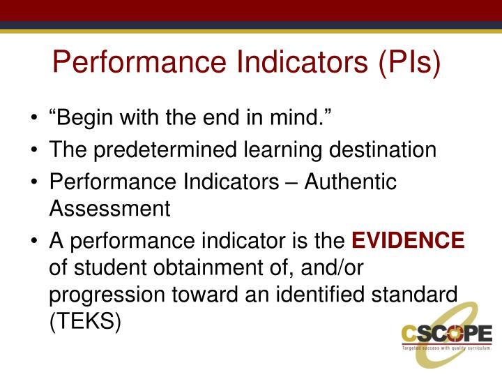 Performance Indicators (PIs)