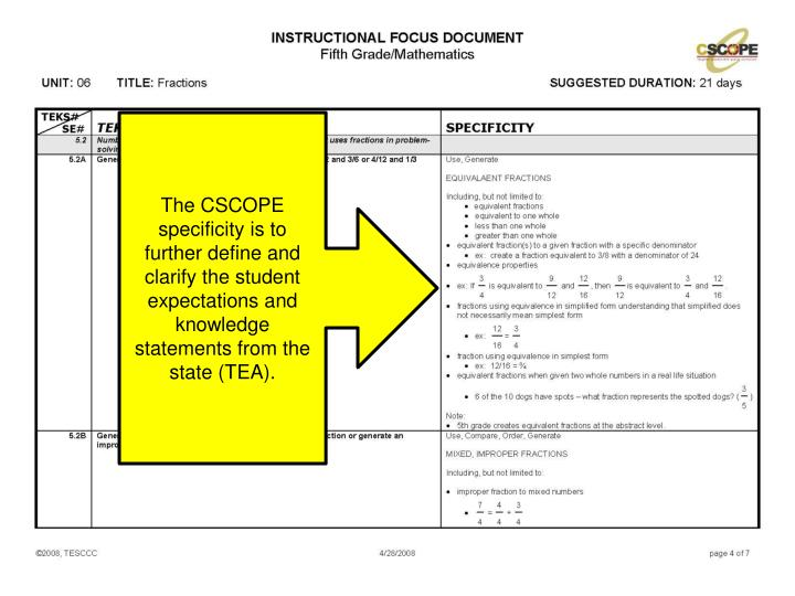 The CSCOPE specificity is to further define and clarify the student expectations and knowledge statements from the state (TEA).