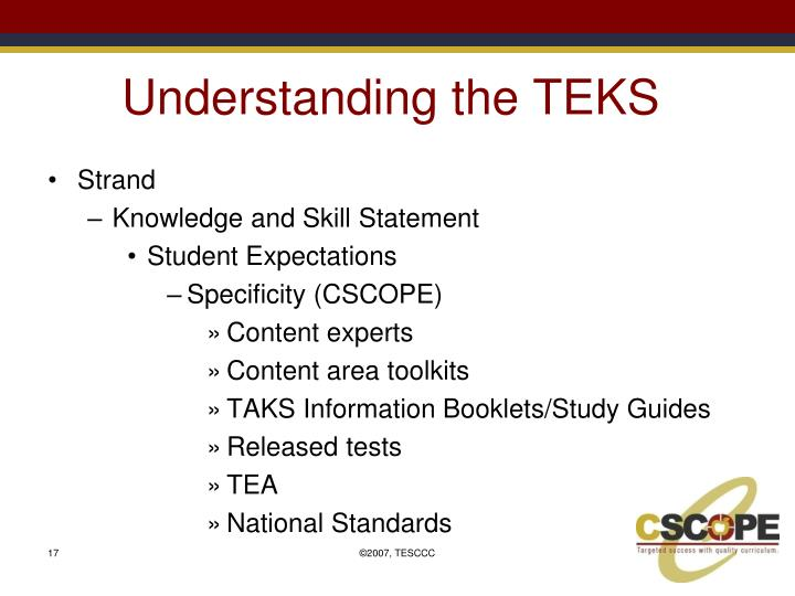 Understanding the TEKS