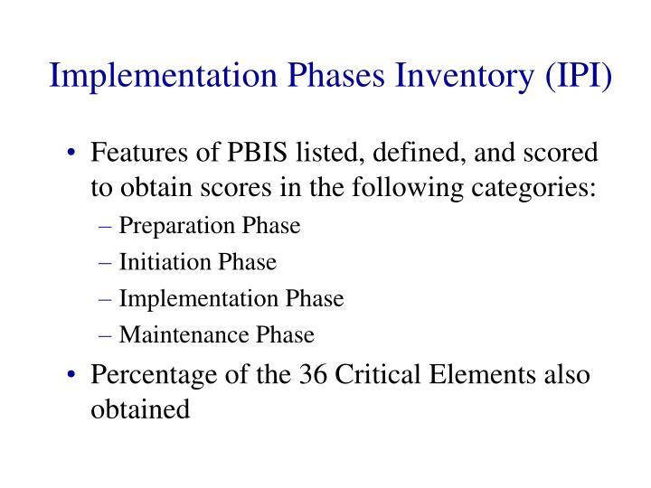 Implementation Phases Inventory (IPI)