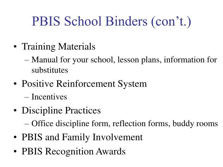 PBIS School Binders (con't.)