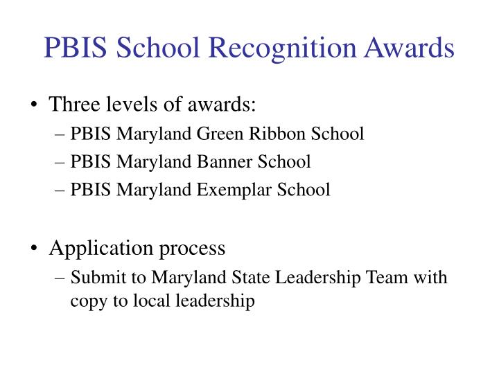 PBIS School Recognition Awards