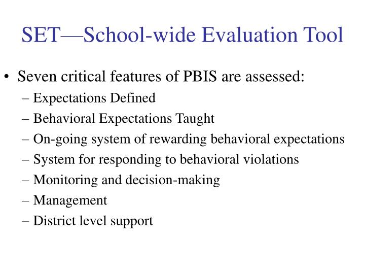 SET—School-wide Evaluation Tool