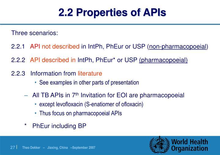 2.2 Properties of APIs