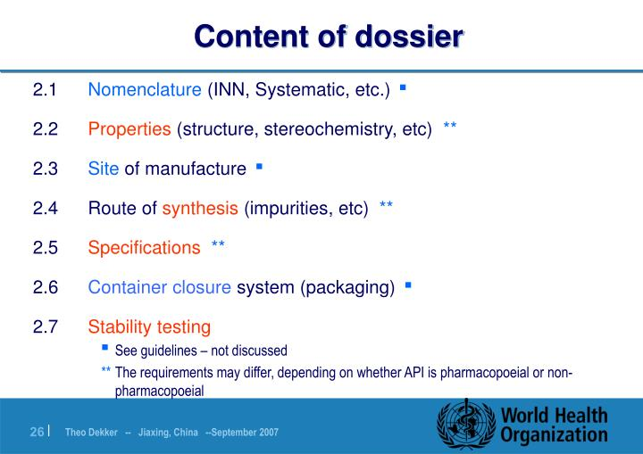 Content of dossier