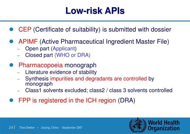 Low-risk APIs