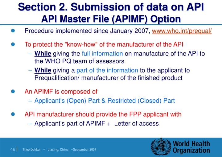 Section 2. Submission of data on API