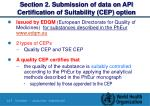 section 2 submission of data on api certification of suitability cep option