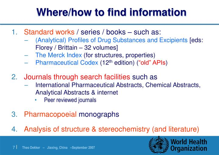 Where/how to find information