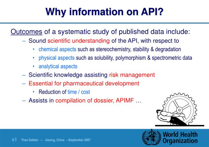 Why information on API?