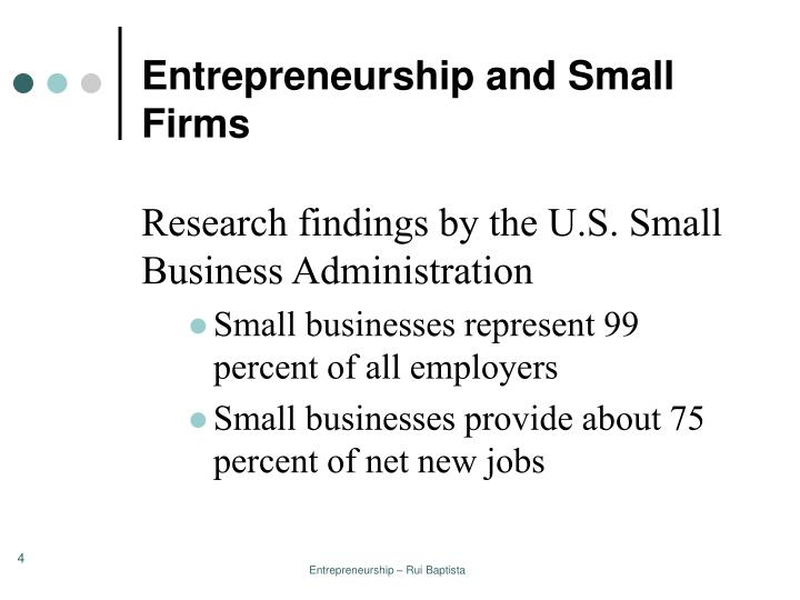 Entrepreneurship and Small Firms