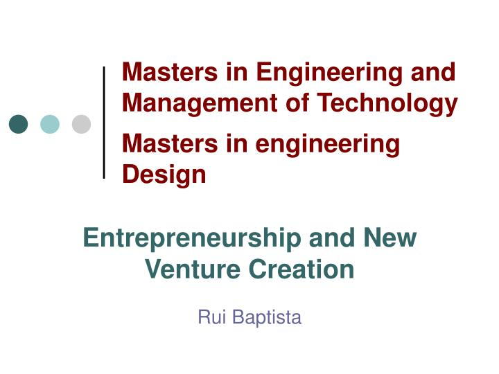 Masters in Engineering and Management of Technology
