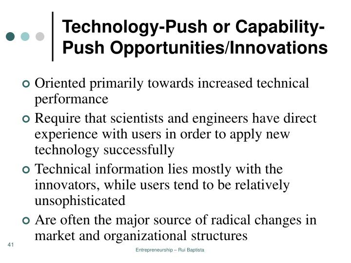 Technology-Push or Capability-Push Opportunities/Innovations