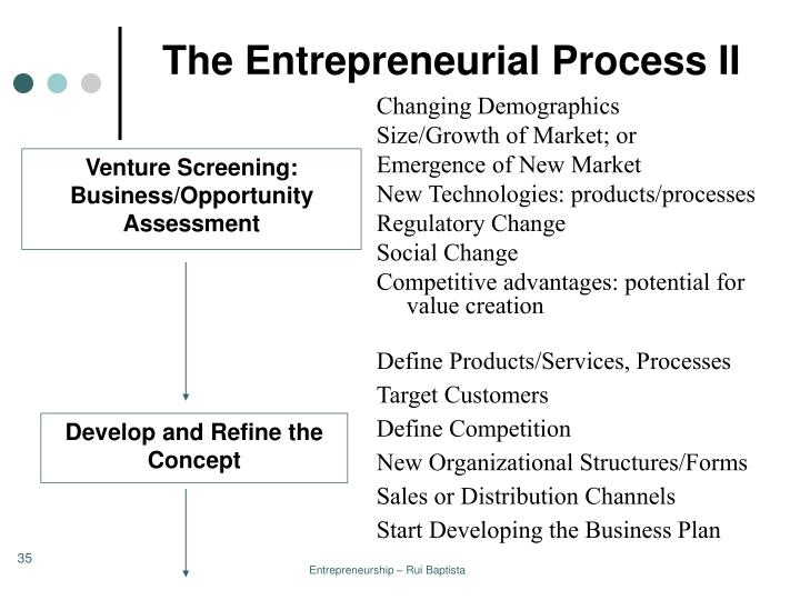 The Entrepreneurial Process II
