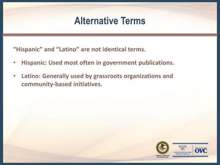 Alternative Terms