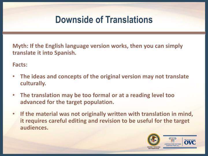 Downside of Translations