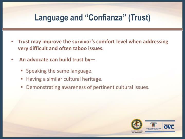 "Language and ""Confianza"" (Trust)"