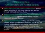research core collaborators and funded grants