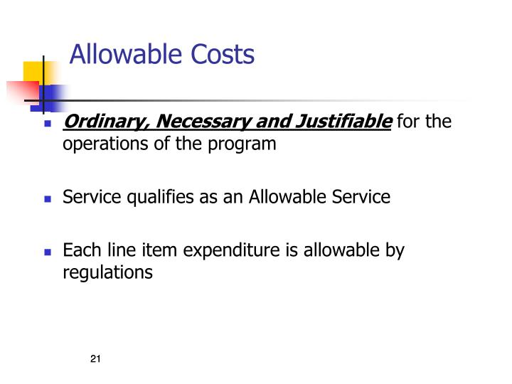 Allowable Costs