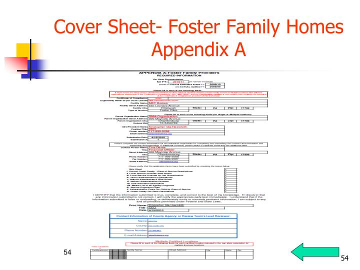 Cover Sheet- Foster Family Homes