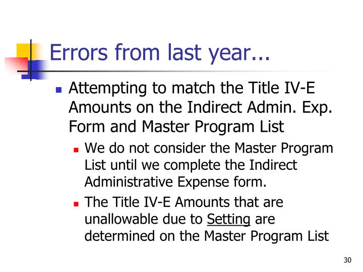 Errors from last year...