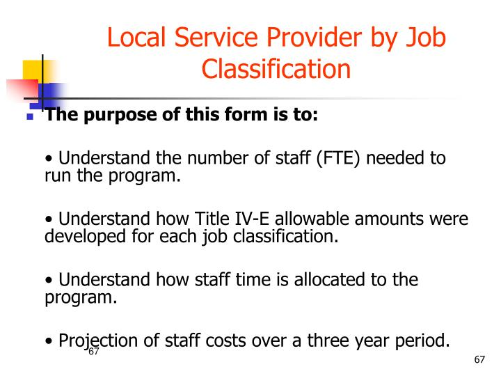 Local Service Provider by Job Classification