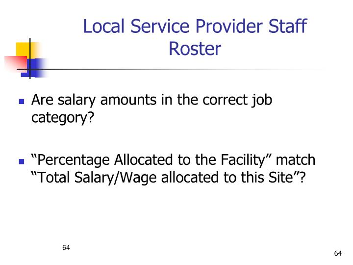 Local Service Provider Staff