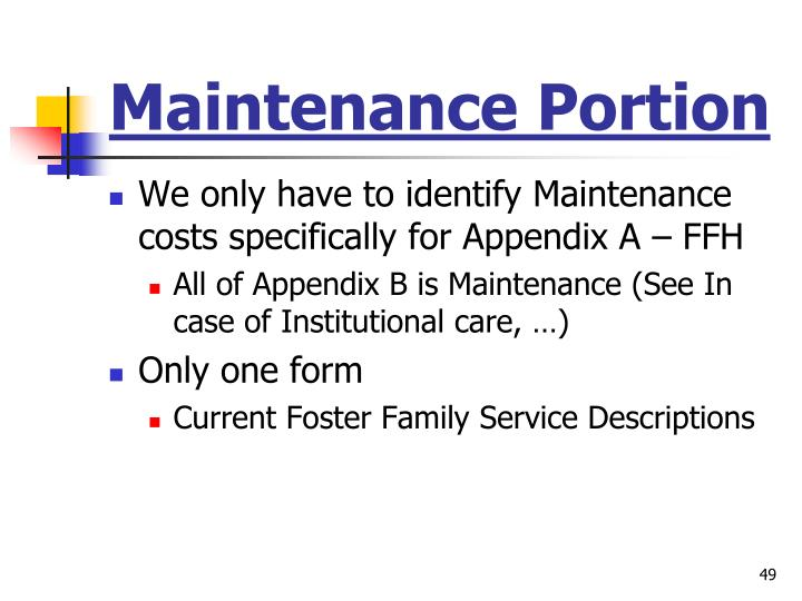 Maintenance Portion