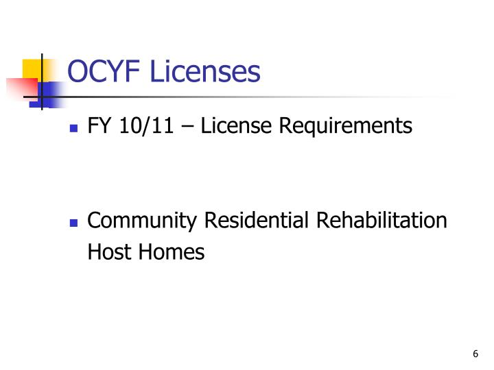 OCYF Licenses