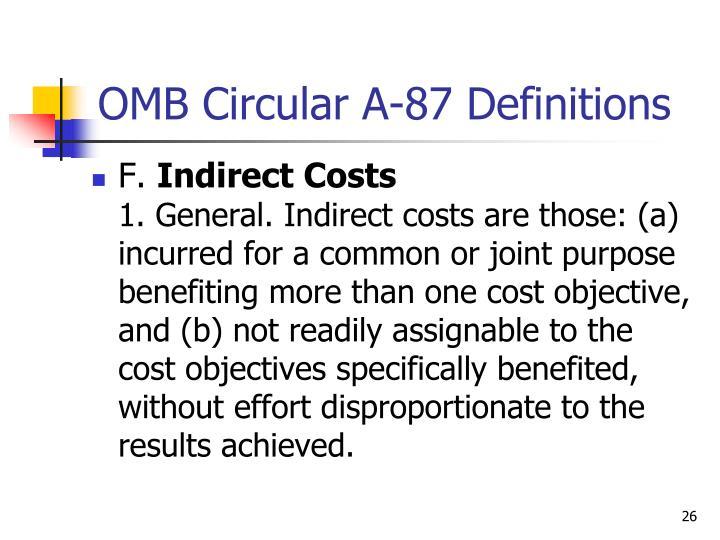 OMB Circular A-87 Definitions