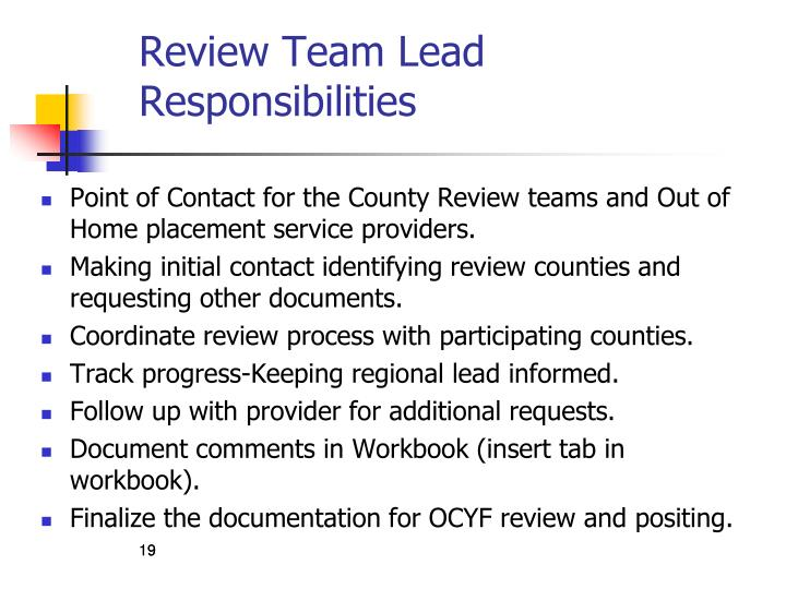Review Team Lead Responsibilities