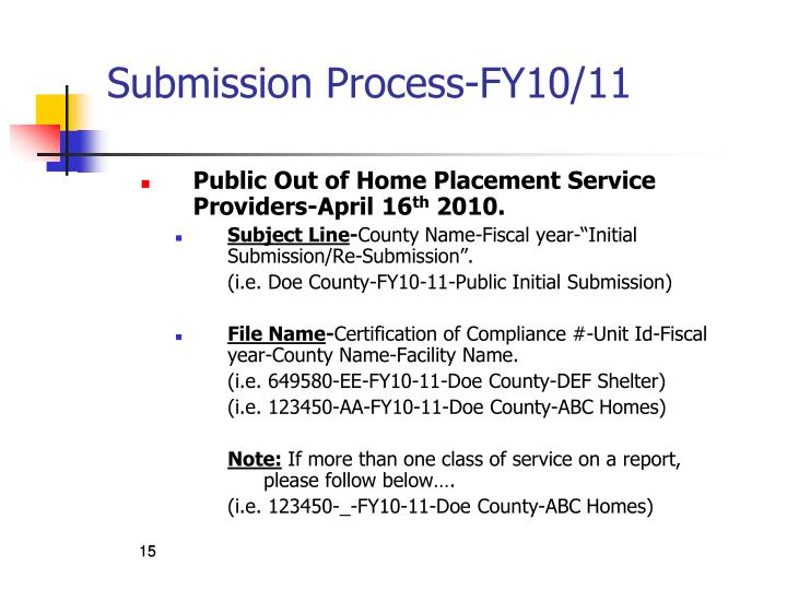 Submission Process-FY10/11