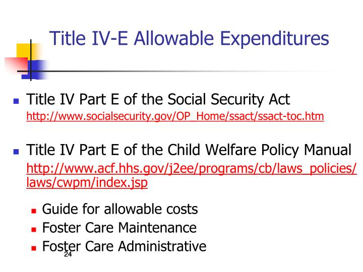 Title IV-E Allowable Expenditures