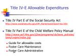title iv e allowable expenditures