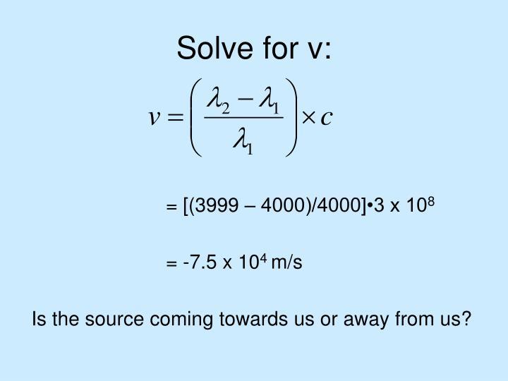 Solve for v: