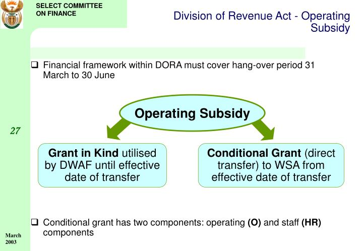Division of Revenue Act - Operating Subsidy