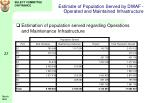 estimate of population served by dwaf operated and maintained infrastructure