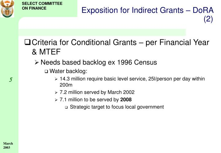 Exposition for Indirect Grants – DoRA (2)