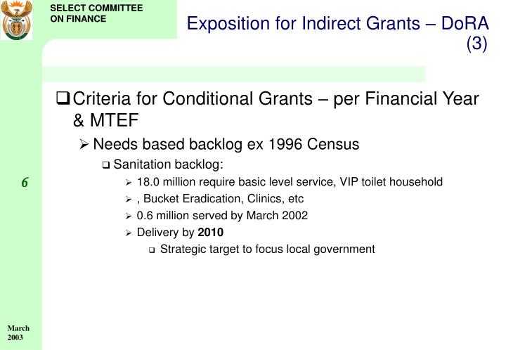Exposition for Indirect Grants – DoRA (3)