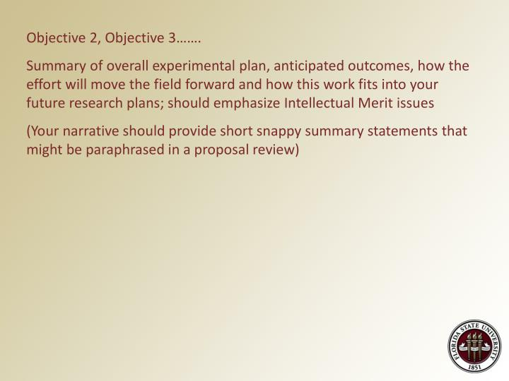 Objective 2, Objective 3…….