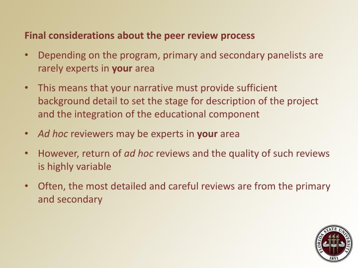 Final considerations about the peer review process