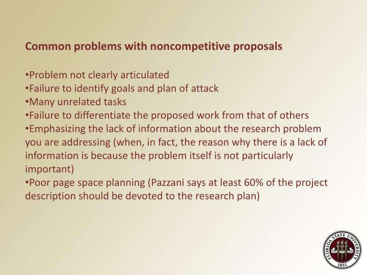 Common problems with noncompetitive proposals