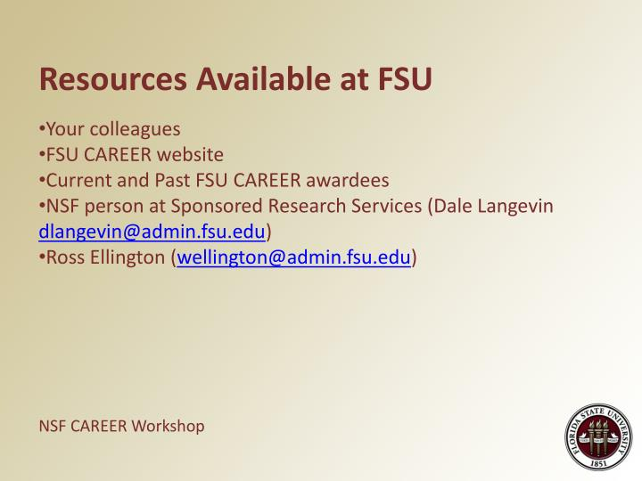 Resources Available at FSU