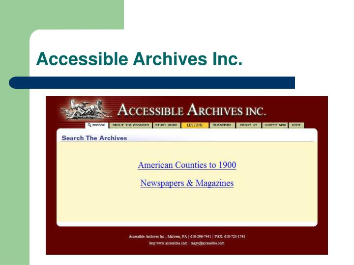 Accessible Archives Inc.