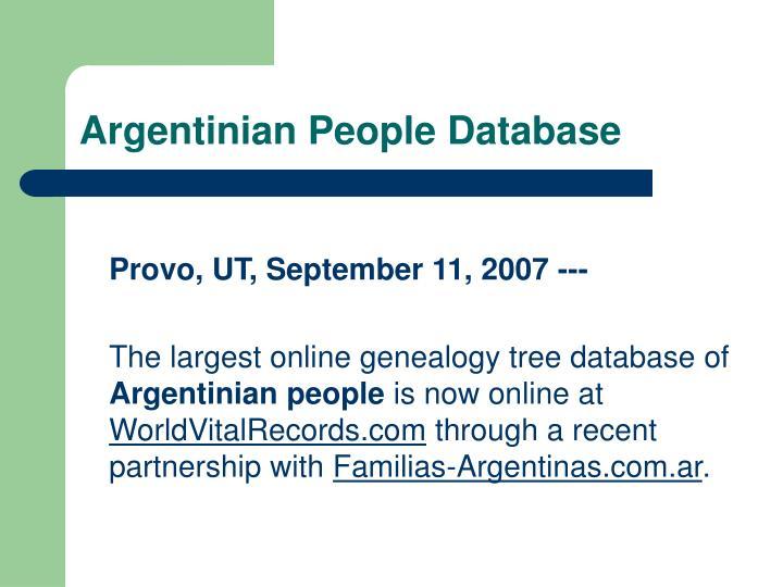 Argentinian People Database