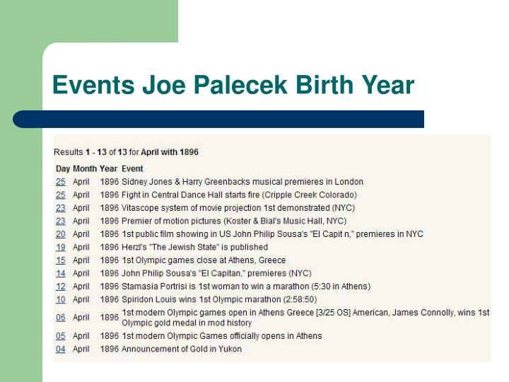 Events Joe Palecek Birth Year