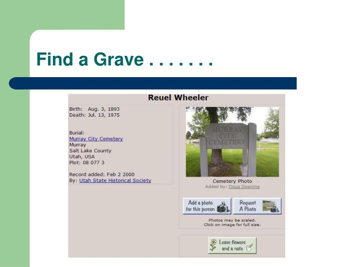 Find a Grave . . . . . . .