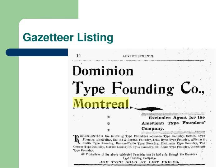 Gazetteer Listing