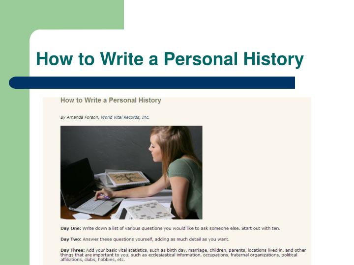 How to Write a Personal History
